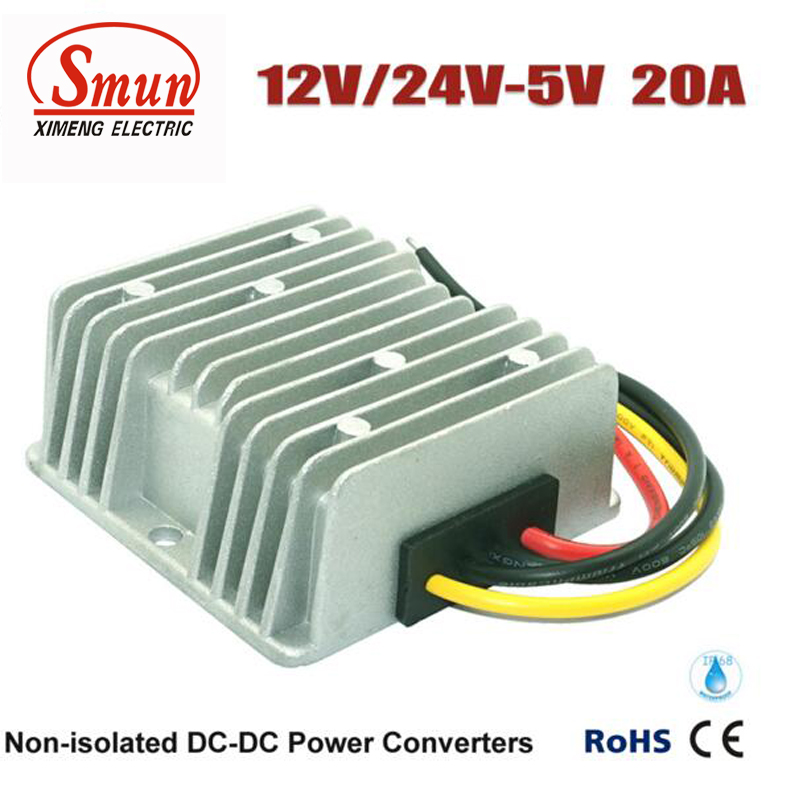 Waterproof Converter DC to DC 12V/24VDC to 5VDC 20A 100W LED Power Supply Transformer meanwell 12v 100w ul certificated clg series ip67 waterproof power supply 90 295vac to 12v dc