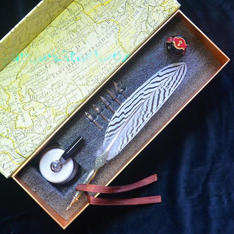 Calligraphy Quill Lophura Nycthemera Feather Pen Set with Ceraminc Pen Holder 5 Nibs 1 Ink Retro Carving Wedding Gift Pen heroes 5028 3 nibs 3 in 1 metal calligraphy pen art pen parallel pen gothic arabic italic uncial replacement 1 1 1 5 1 9 mm
