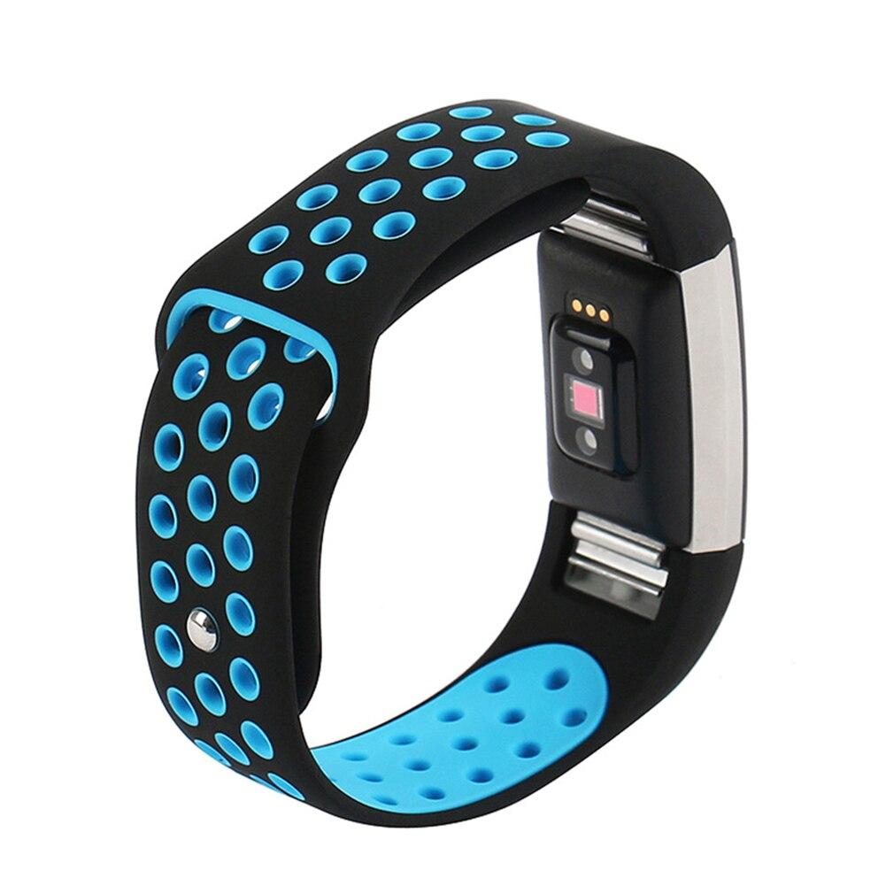 Цвет ful двойной Цвет спортивные часы ремешок силиконовый браслет Смарт-Браслет для Fitbit заряд 2
