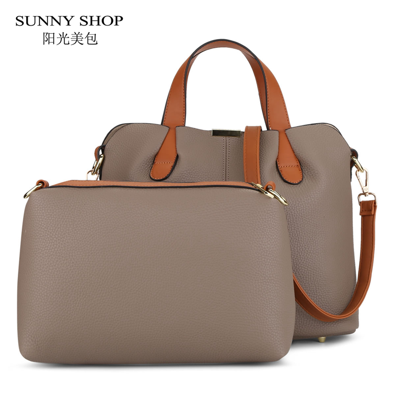 SUNNY SHOP 2 Bags/Set PU Leather Handbags Purse Set Women Bag Designer Over Shoulder Bags With Small Messenger Bags