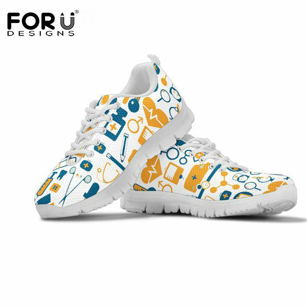FORUDESIGNS HOT EMT Nurse Printing Women Flats Casual Mesh Sneakers Female Zapatos Lightweight Mesh Flat Shoes Comfort Lady Shoe forudesigns 2018 fashion women summer slip on flats breathable comfort light mesh flat shoes casual female walk lady beach shoes