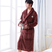 Chinese Men Flannel Long Robe Thick Kimono Bath Gown Sleepwear With Bandage Nightgown Pajamas Size S M L XL XXL XXXL S0027
