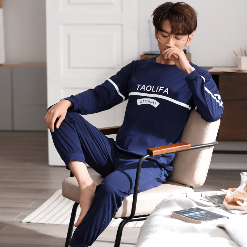 Man Cotton Print Long Sleeve Pajamas Sets 2019 Autumn Spring Male Loose Sleepwear Men Oversize Pyjamas O-Neck Homewear