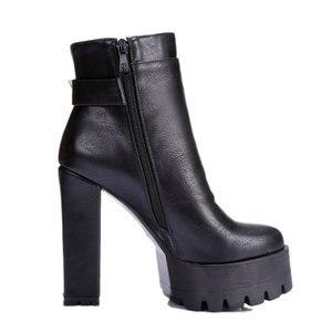 Image 2 - 2019 women super high heels boots  dress shoes woman platform spring autumn ankle boots woman large size 41 42