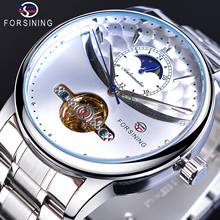 Forsining Men Automatic Watches Silver White Brand Tourbillon Moon Phase Stainless Steel Mechanical Wristwatch Relogio Masculino carnival mechanical men watch phase moon leather strap double calendar stainless steel multi function clock relogio masculino