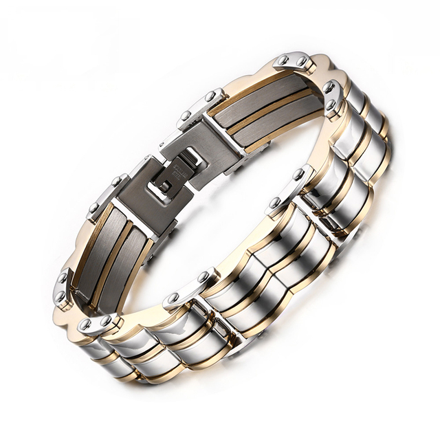 Heyrock Men's Bracelet 316l Stainless Steel Heavy Metal Chain Cuff Bracelets Bicycle Bracelets