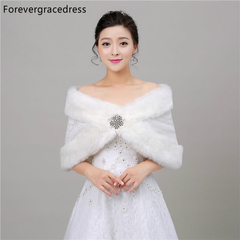 Forevergracedress Classic Women Winter Faux Fur Wedding Wrap Bolero Jackets Bridal Coat Cape Cloak Shawls Scarves In Stock