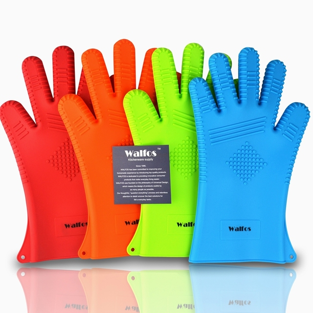 1 Piece Heat Resistant Extra Long Oven Mitts-Barbecue BBQ Glove-Silicone Cooking Oven Glove BBQ Tools Grill Accessories
