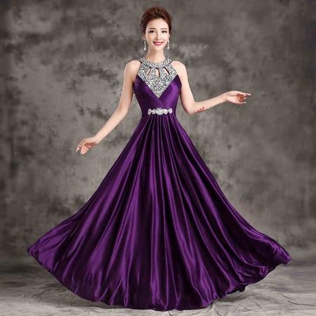 Formal Bridesmaid Dress Women Halter Wedding Party Gown Chiffon Crystal Long Bridesmaid Dresses 2018 Hot Royal Blue Plus size