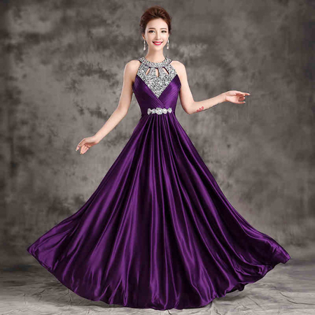 Formal   Bridesmaid     Dress   Women Halter Wedding Party Gown Chiffon Crystal Long   Bridesmaid     Dresses   2018 Hot Royal Blue Plus size