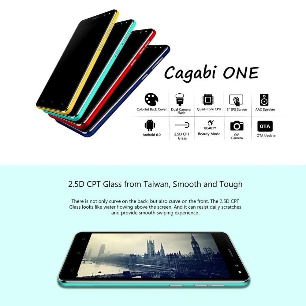 Cagabi ONE Smartphone 8GB ROM 1GB RAM 5.0 inch 2.5D Android 6.0 MTK6580A Quad-core 1.3GHz Dual SIM 3G WCDMA OTA 5.0MP