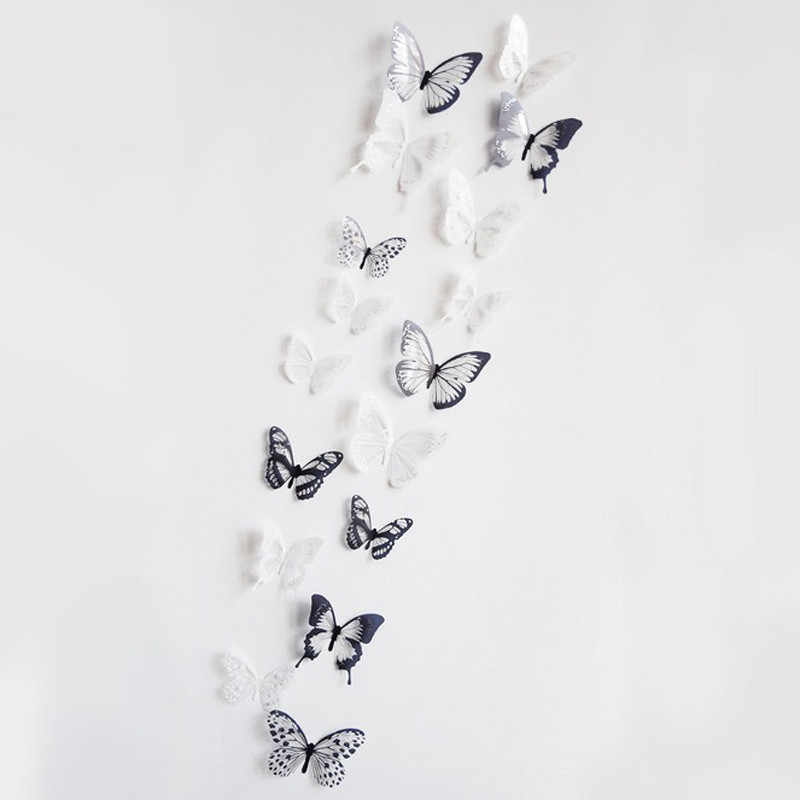 ISHOWTIENDA 18 Pieces 3D Butterfly Decor Wall Sticker Home Wall Decals For Bedroom Living Room Home Decor Wallpaper 2019 New