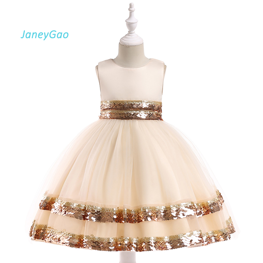 JaneyGao Flower Girl Dresses For Wedding Party With Sequins Birthday Prom Dress Little Girl Princess Gown Kids Formal Wear 2019