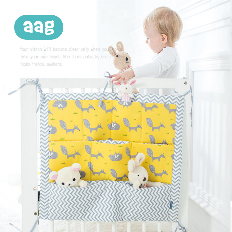 AAG Cotton Baby Bed Hanging Storage Bag Newborn Cot Crib Organizer Infant Toy Diaper Pocket For Crib Bedding Accessories 20