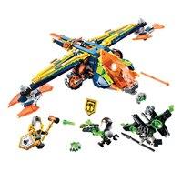 638pcs Knights Nexu Knights Aaron's X Bow Fighter Plane 10818 Model Building Blocks Kids Toys Bricks Nexus Compatible