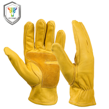 OZERO Cowhide Leather Work Gloves With Elastic Wear Wrist Men's Welding Wearable Moto Driver Warm Safety Workers Gloves 0006