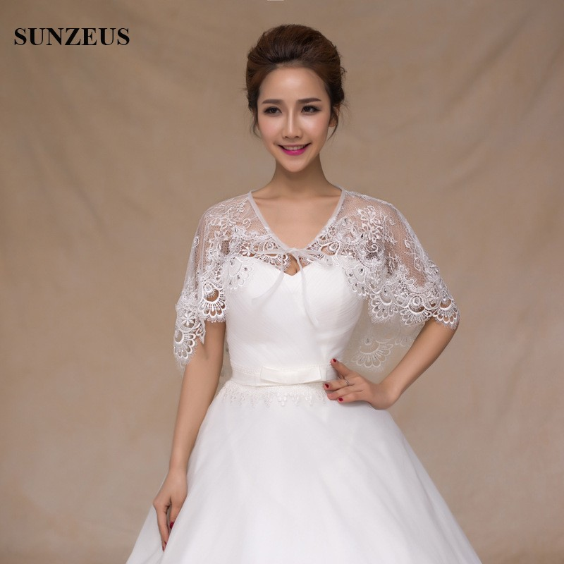 Lace bridal shawl straps front lovely elegant girls for Shawls for wedding dresses
