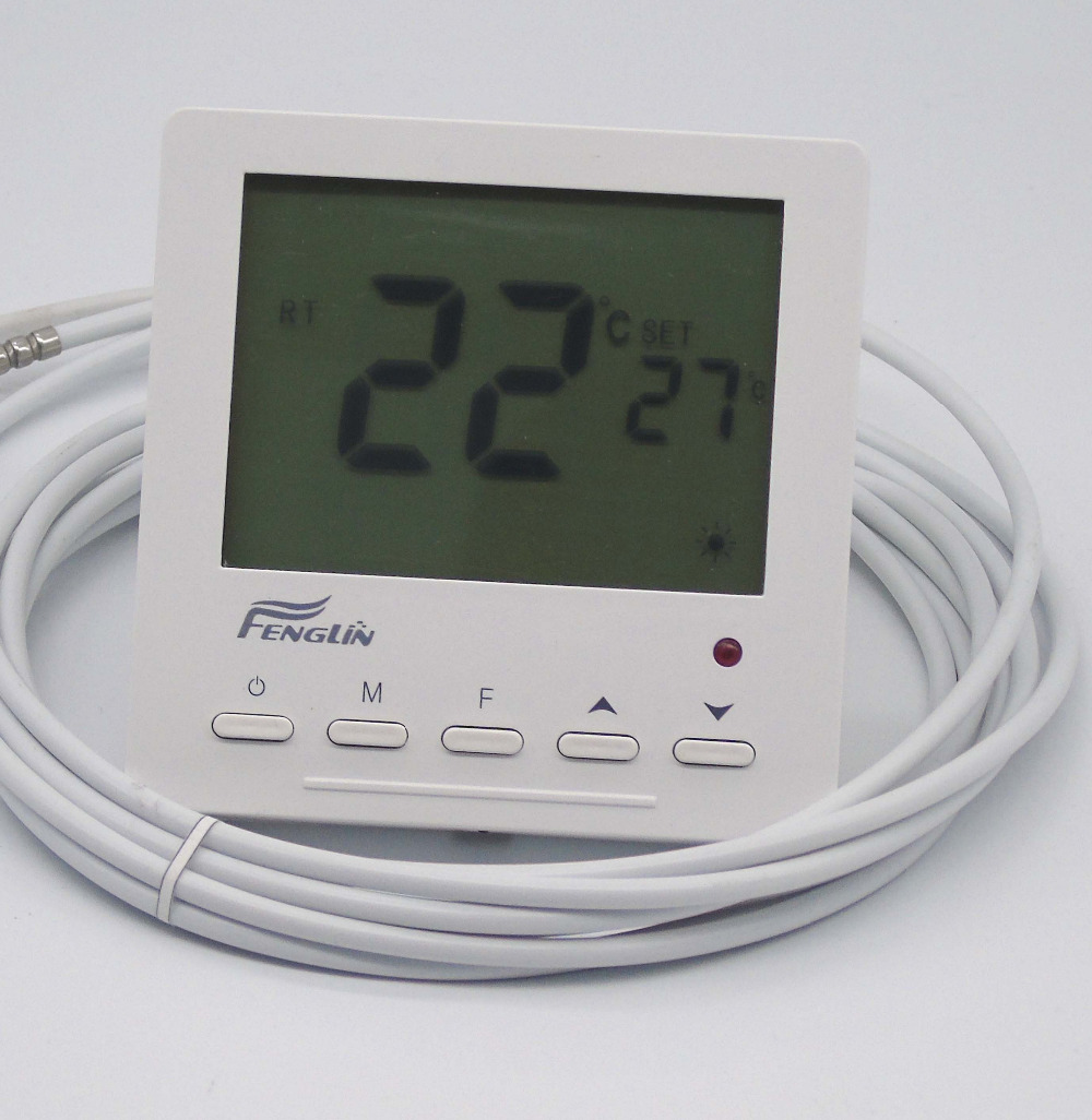 16A 4KW dual temperature and control digital floor heating thermostat regulator ac 250v 20a normal close 60c temperature control switch bimetal thermostat