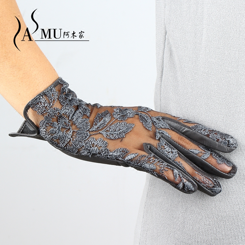 New Lady Luxury Elegant Genuine Leather Lace Gloves Women Summer Driving Leather Gloves Mittens Women Party Gloves Free Shipping