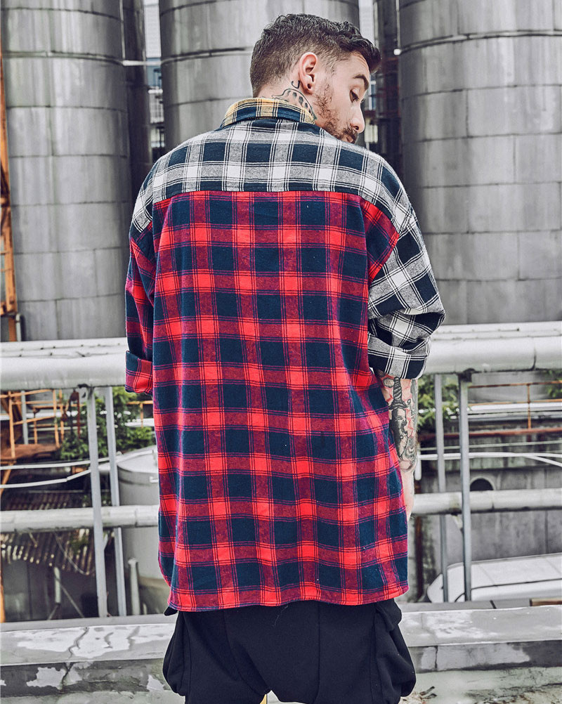 Color Block Patchwork Plaid Long Sleeve Shirts 2