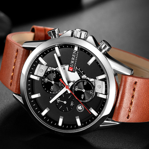 Image 5 - Curren Mens saatler üst marka lüks Chronograph erkekler İzle deri lüks su geçirmez spor İzle erkekler erkek saat adam kol saati
