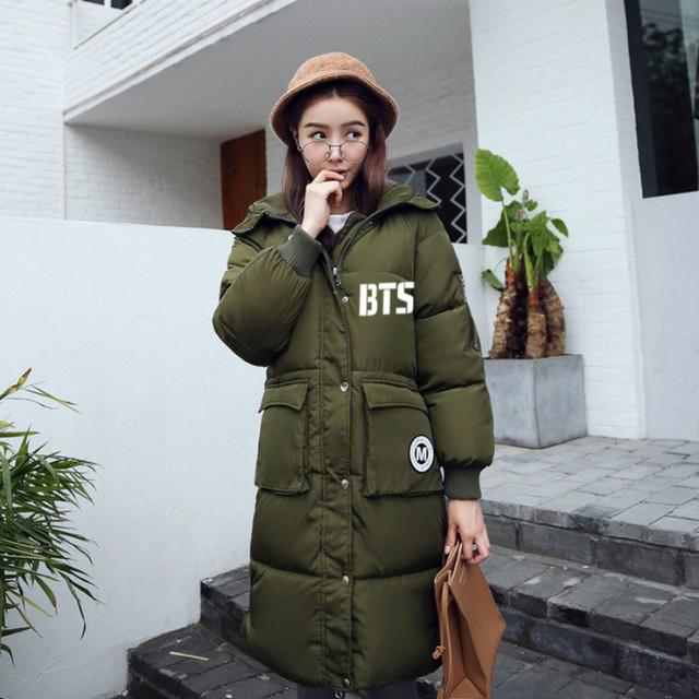 Novo inverno 2017 BTS KPOP mulheres versão Coreana dos homens preto cinza Rosa verde impressão Carta casaco Com Capuz Espessamento Para Baixo casaco