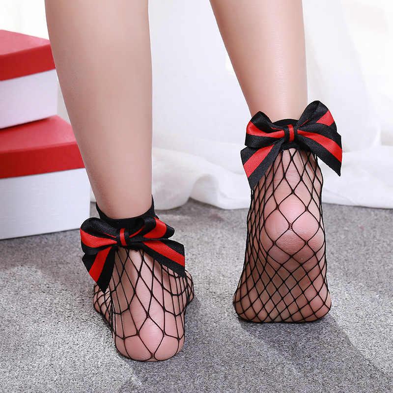 df4ee7a9c0 Bowknot Black Unif Socks Mesh Sheer Fancy Offers Women Summer Hipster Sexy  Fishnets Socks in net