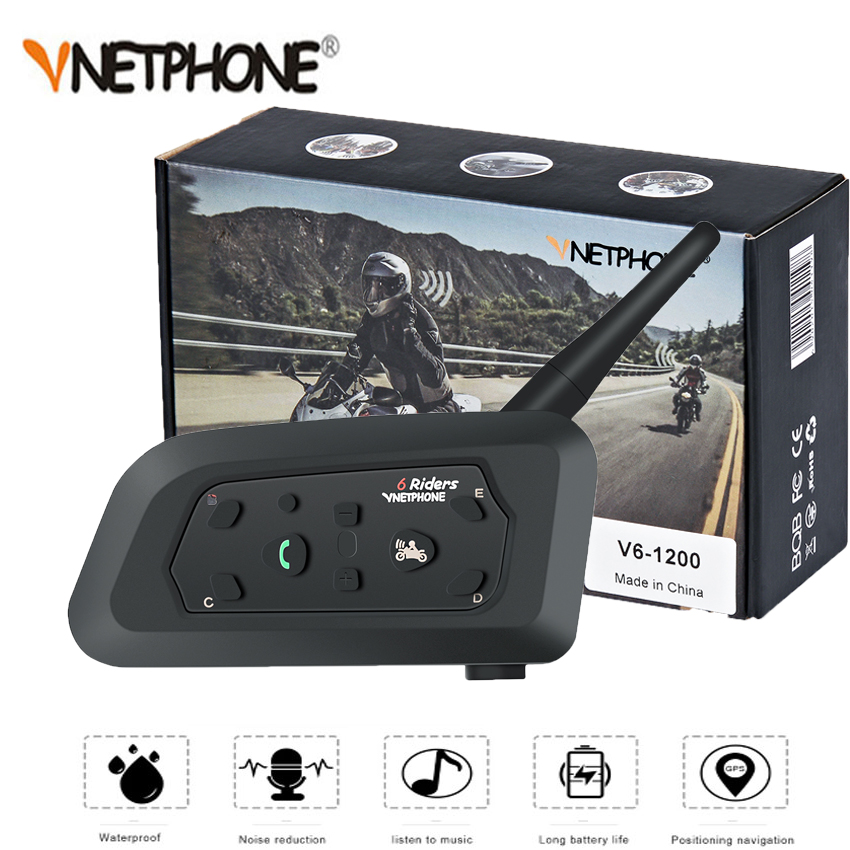 VNETPHONE 1200 M 1 pièces casque de Moto sans fil Bluetooth Interphone 6 coureurs Interphone casque Support Mp3 Intercomunicador Moto