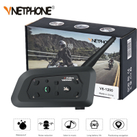 VNETPHONE 1200M 1Pcs Wireless Bluetooth Motorcycle Helmet Intercom 6 Riders Interphone Headset Support Mp3 Intercomunicador Moto