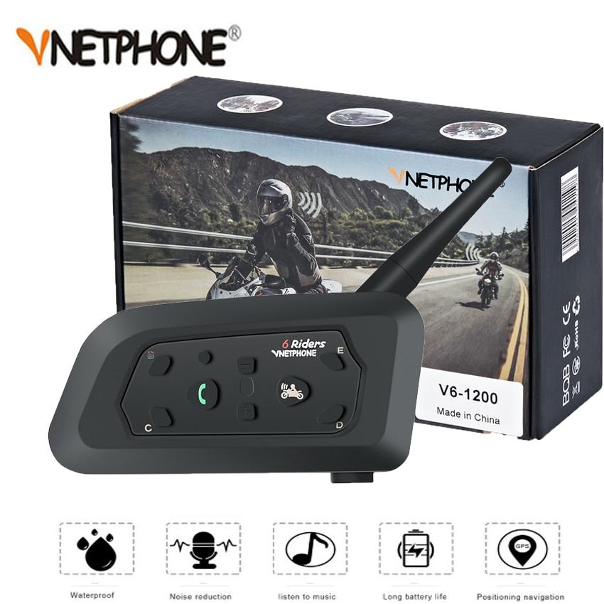 Vnetphone 1200 m 1 pçs sem fio bluetooth capacete da motocicleta interfone 6 pilotos interfone fone de ouvido suporte mp3 intercomunicador moto