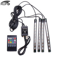אווירת הפנים מכונית RUPO 4 יחידות USB הגמיש RGB 9 LED ערכת מנורה דקורטיבית רצועת אור רכב אוטומטי שליטה מרחוק מוסיקה DC12V