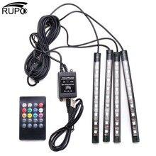 RUPO 4pcs Car Interior Atmosphere Flexible USB RGB 9 LED Strip Light Car Auto Music Remote Control Decorative Lamp Kit DC12V