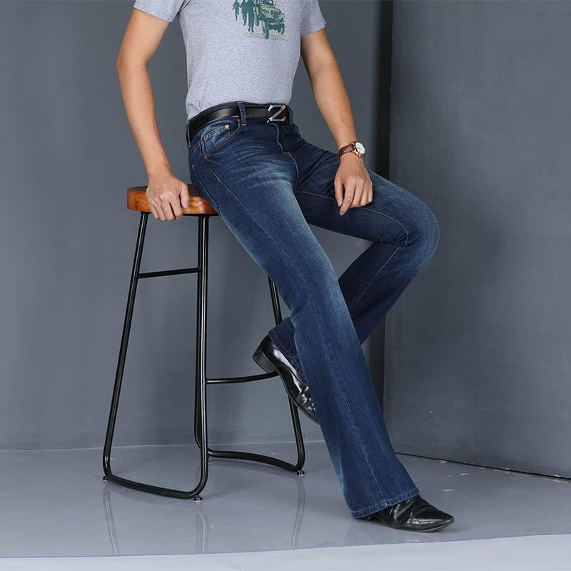 New Mens Flared Jeans Fashion Boot Cut Leg Pants Loose Casual High Waist Mens Jeans Designer Classic Denim Pants