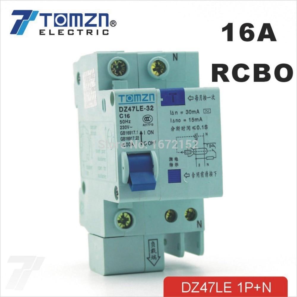 DZ47LE 1P+N 16A C type 230V~ 50HZ//60HZ Residual current Circuit breaker