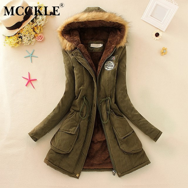 746a3583e16 MCCKLE Plus Size Women Fur Collar Hooded Long Parka Cotton Padded Thick Warm  Ladies Coat 2018 Autumn Winter Casual Female Jacket