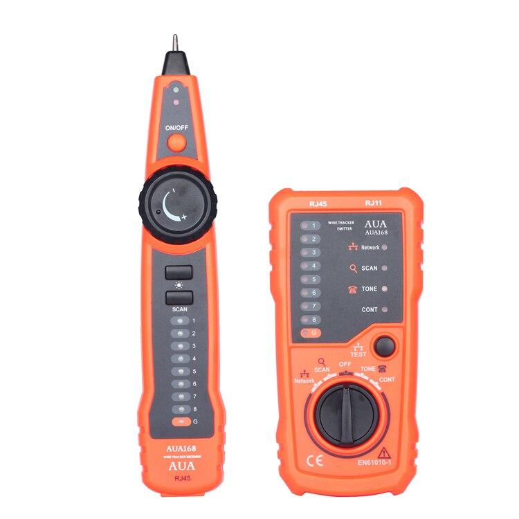 Alta calidad AUA168 RJ11 RJ45 Cat5e 6 teléfono línea rastreador osciloscopio polvo de carbono Ethernet LAN Network Cable Tester Detector L