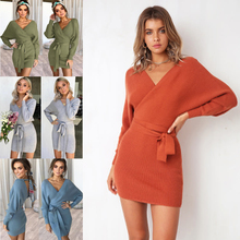 Plus Size Large Knit Mini Dress Women Warm Knitted Tunic Dresses Autumn Winter Long Sleeve V-neck Bodycon Slim Party Clothing plus size cable knit checked tunic top