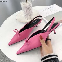 MOLAN Brand 2018 Spring New Fashion Elegant Med Thin Heels Lady Shoes Sweet Ponit Toe Butterfly