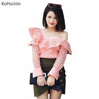 KoHuiJoo Spring Summer Sleeve off Shoulder Shirts Women Sexy Fashion Tops Female White Pink Ruffles Hollow Out Lace Party Blusas