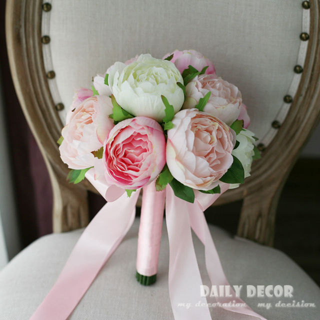 High simulation artificial pink peony flowers wedding bridal bouquet ...