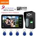 """9 """"Monitor de Toque de Impressão Digital de Gravação de Vídeo porta telefone Intercom Doorbell/Código de Senha/ID/Cartão de 8 GB Gravação do cartão de Tirar Fotos"""