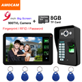 "9"" Touch Monitor Video Record door phone Intercom Doorbell Fingerprint/Password Code/ID Card/8GB Card Recording Take Pictures"