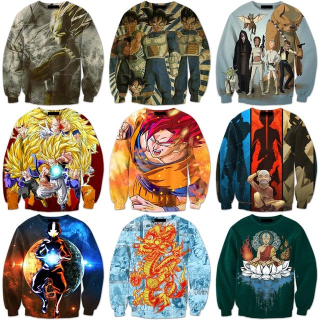 Dragon Ball Z Anime Personajes 3D Sudadera de Dibujos Animados El Estado Avatar Imprimir Cuello Redondo Suéteres Hombres de Las Mujeres de Manga Larga prendas de Vestir Exteriores