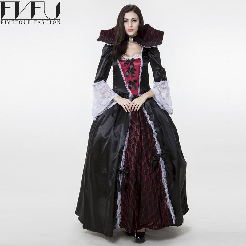 nuevo estilo mujeres cosplay disfraces de halloween vampiro disfraces cosplay dress negro ghost novia maquillaje