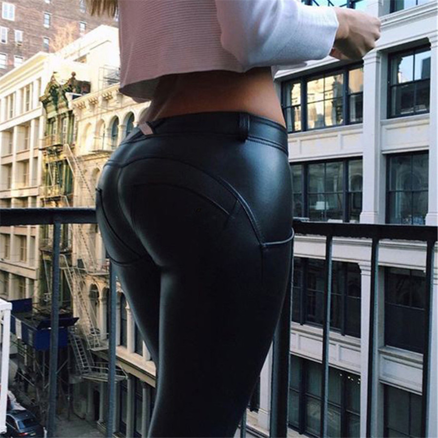 Casual Mid Waist Push Up Leather Leggings