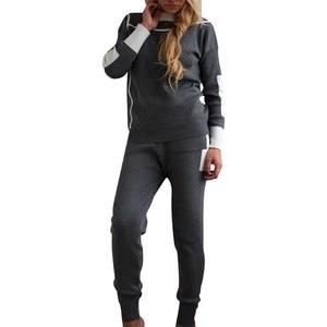 Image 2 - Woman Tracksuits 2018 Autumn Fashion Turtleneck Sweater + Slim Pants Knitted Suits Ladies Stripe Two Piece Set Twinset 2 Pcs Set