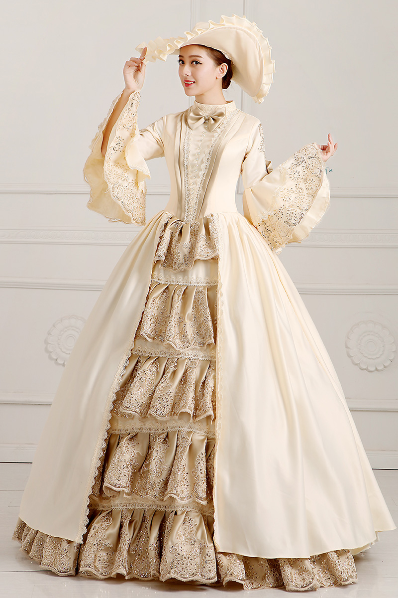 champange embroidery ruffled ball gown with hat medieval dress ...
