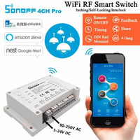 ITEAD Sonoff 4CH Pro WIFI Smart Switch 433MHZ Remote Control Switches Mounting Home Automation For Alexa