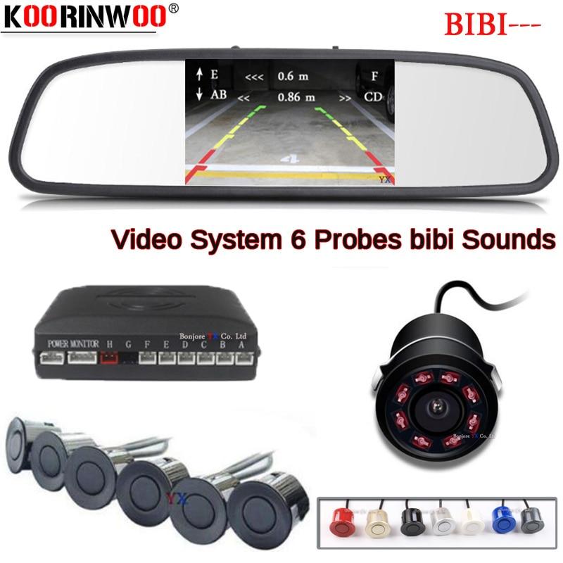Koorinwoo Parktonic Car Parking Sensor 6 HD Car Monitor Screen Car Rear view camra Alert Probes Reverse Radar System Black White