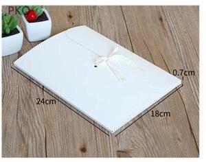 Image 2 - 30 pçs/lote grande kraft foto envelope embalagem caso de papel branco presente envelope para lenço de seda com fita caixa de envelope cartão postal